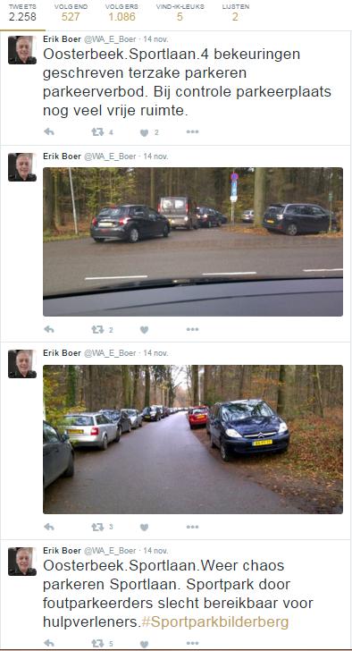 Verkeersveiligheid: wijkagent twittert op 14/11/2015 over parkeerchaos Sportpark Bilderberg